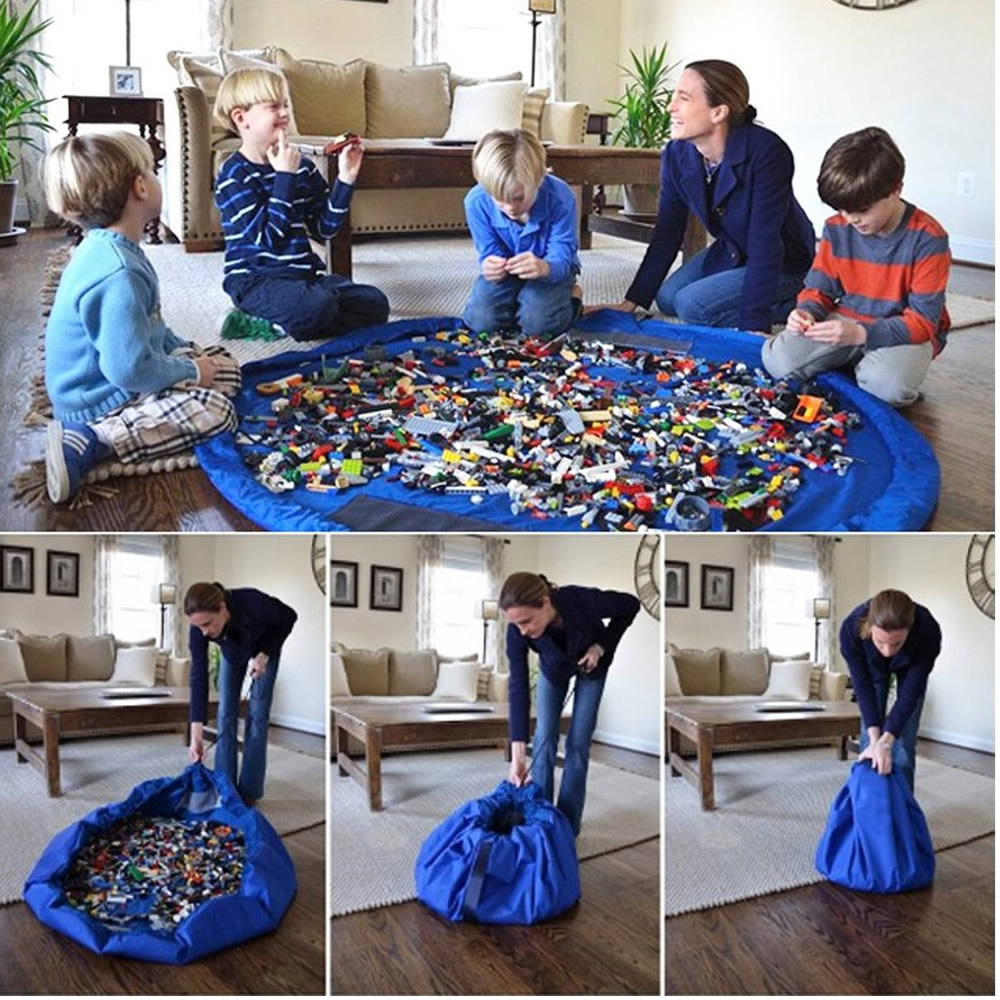 Tapete Sacola Saco Bolsa Organizador de Brinquedos Multiuso Azul Claro CBRN13777