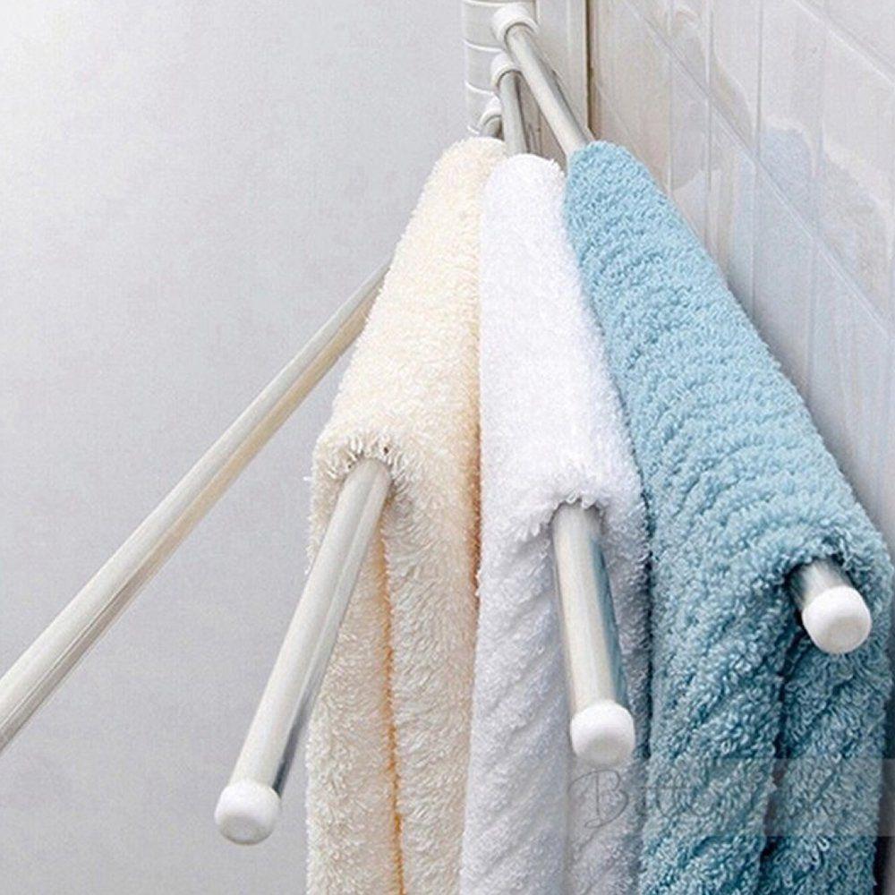 Toalheiro de parede 4 toalhas aço cromado ventosas mágicas CBRN07714