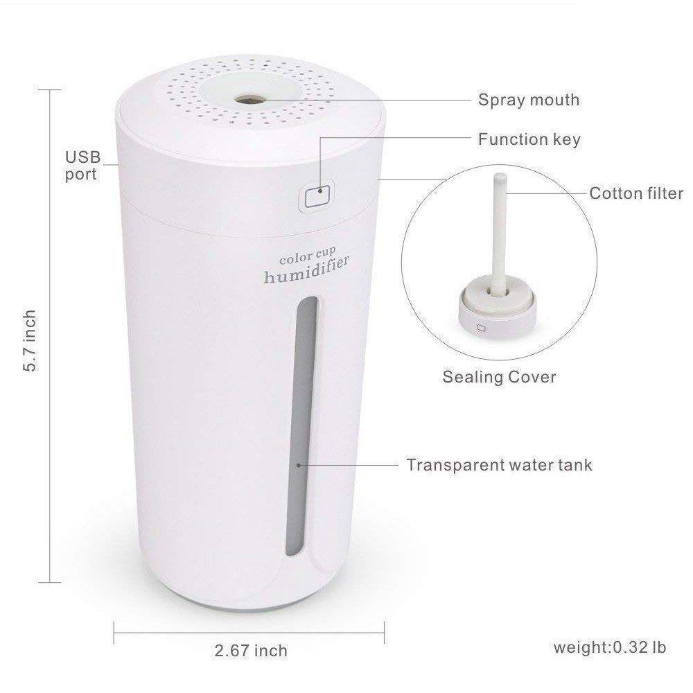 Umidificador de Ar Color Cup LED + Adaptador Tomada Branco CBRN08445