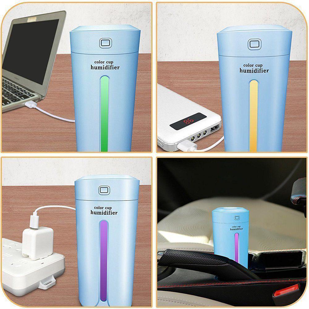Umidificador de Ar Color Cup LED + Adaptador Tomada Rosa CBRN08452