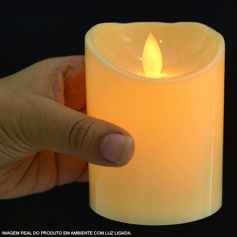 Vela Led Eletrônica Chamejante Amarelo KIT 3 PEÇAS CBRN10639