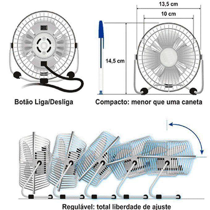 Ventilador De Mesa Usb em Metal Laptop, Notebook, Pc DS1660