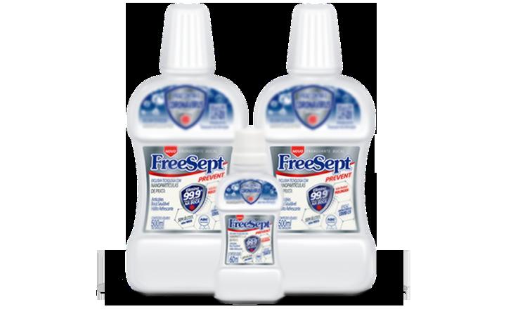 KIT 3 | 2 Enxaguante Bucal de 500ml + 1 Enxaguante Bucal de 60ml  - Freesept Prevent