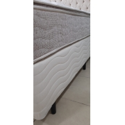 CAMA BOX - QUEEN SIZE - BEGE MAROLA - BIPARTIDO - 158x198
