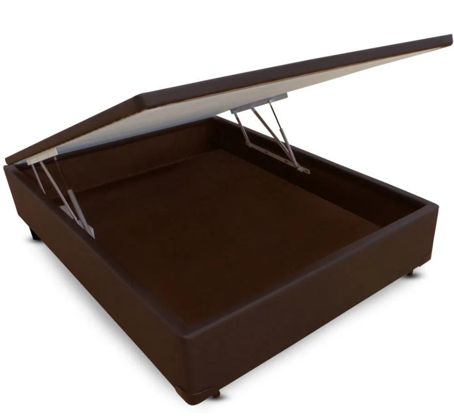 CAMA BOX BAÚ - CASAL - MARROM - 138X188