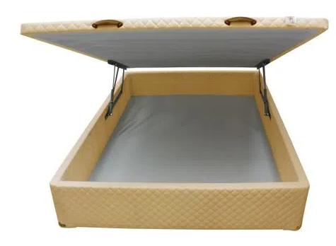 CAMA BOX BAÚ - CASAL - BEGE - 138X188