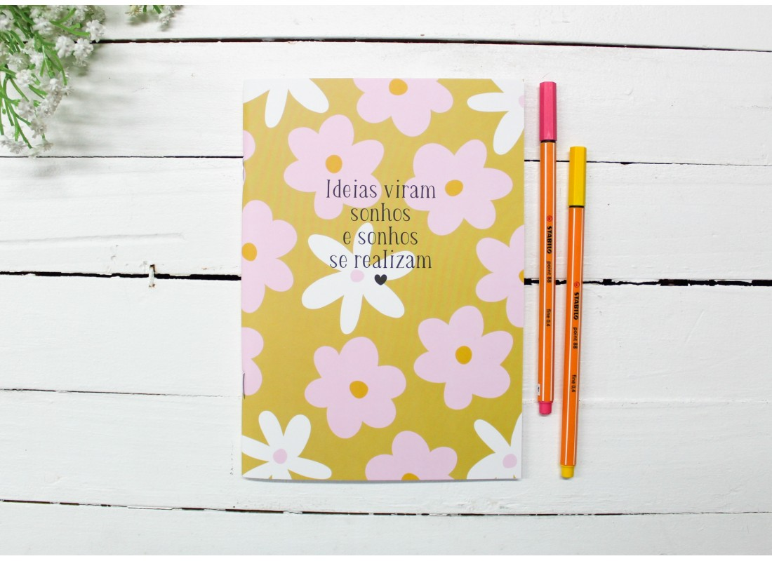 Paperjournal Florzinha Ideias Viram Sonhos - Miolo Pontilhado - 14cm x 20cm