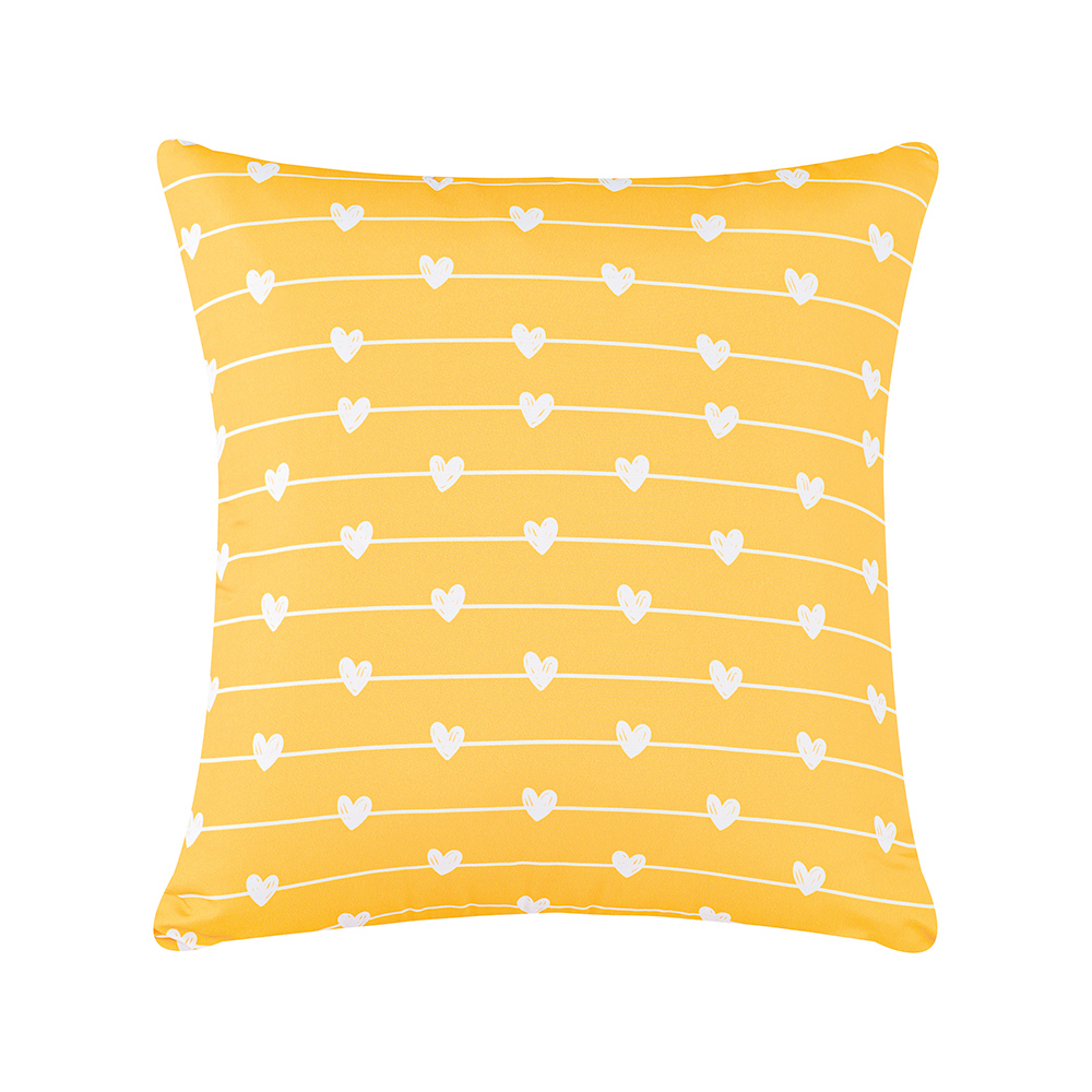 Capa de Almofada Estampa Digital 45cm x 45cm 1 Peça - Amarelo Coração