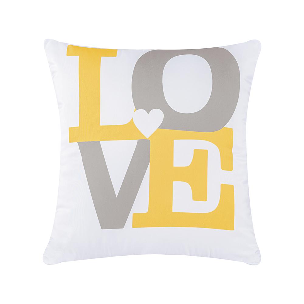 Capa de Almofada Estampa Digital 45cm x 45cm 1 Peça - Amarelo Love