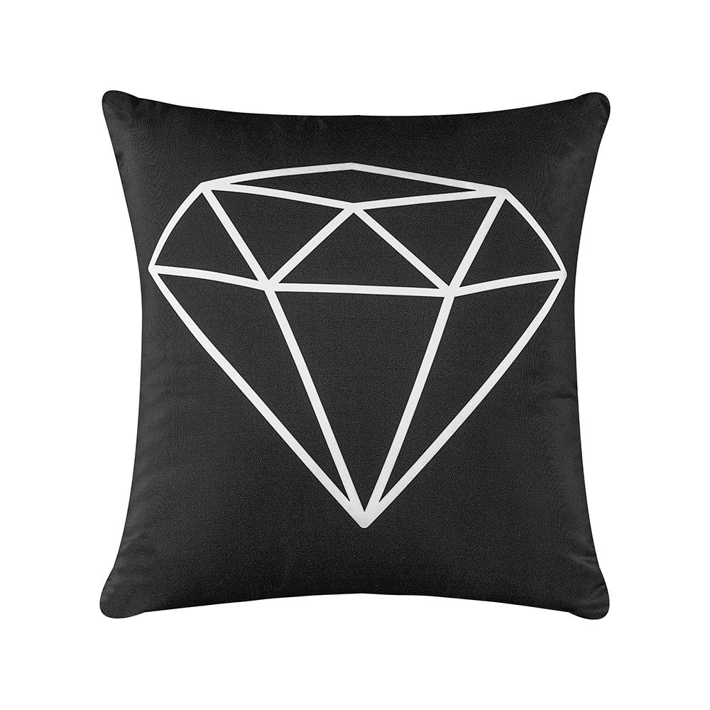 Capa de Almofada Estampa Digital 45cm x 45cm 1 Peça - Preto Diamante