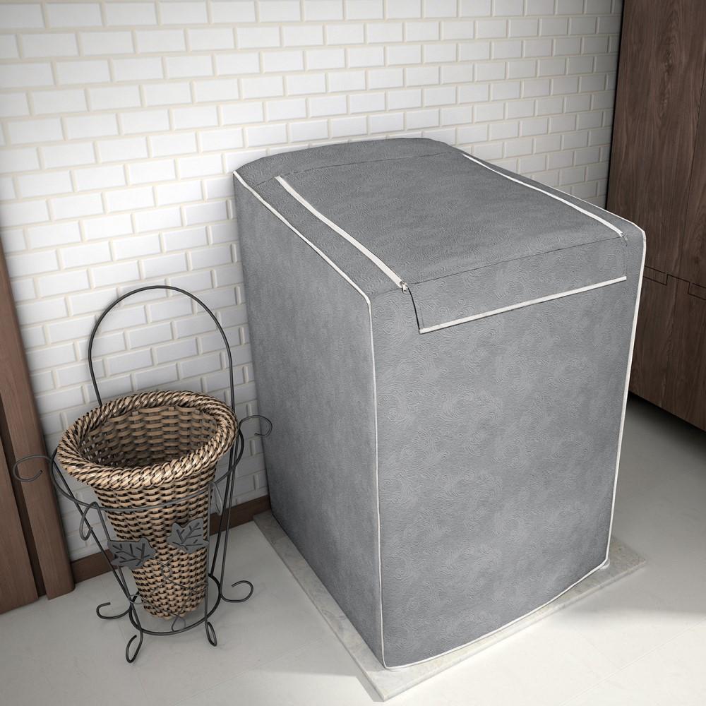 Capa para Máquina de Lavar 100% P.V.C Grande 12 a 16kg - Cinza