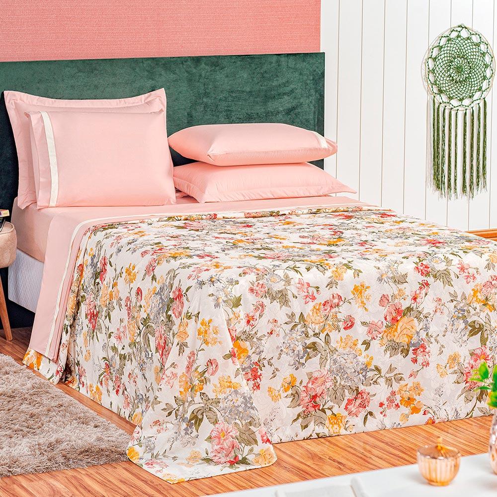 Cobre Leito Botanic Queen 3 Peças - Rose