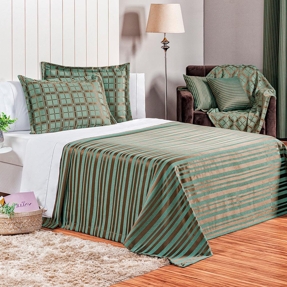 Cobre Leito Elegance King 3 Peças - Verde