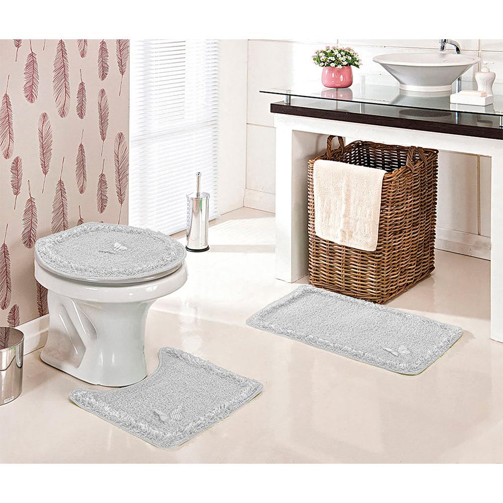 Jogo De Banheiro Delicato 3 pçs - Perfil Baixo - Espessura 0,8cm - Cinza