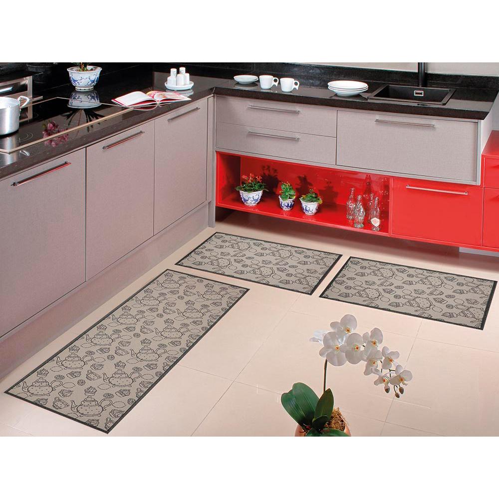 Kit Cozinha Home Tech 3 pçs - Perfil Baixo - Espessura 1cm - HT 08 Chumbo