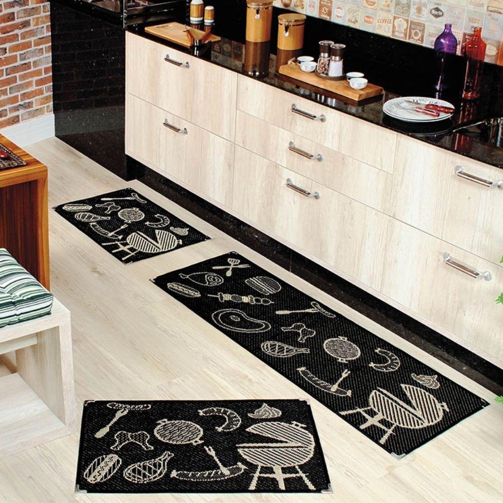 Kit Cozinha Sisal 3 pçs - Perfil Baixo - Espessura 1cm - KS 60 Preto
