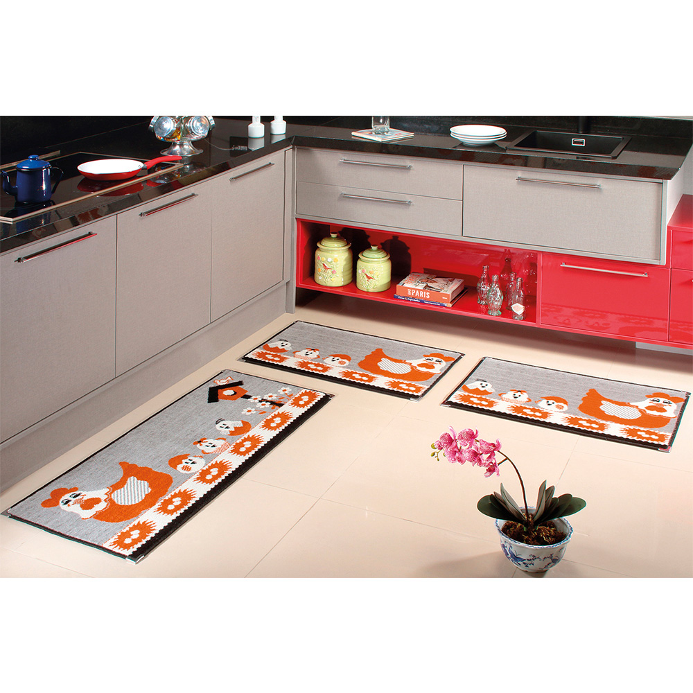 Kit Cozinha Veludo 3 pçs - Perfil Baixo - Espessura 1cm