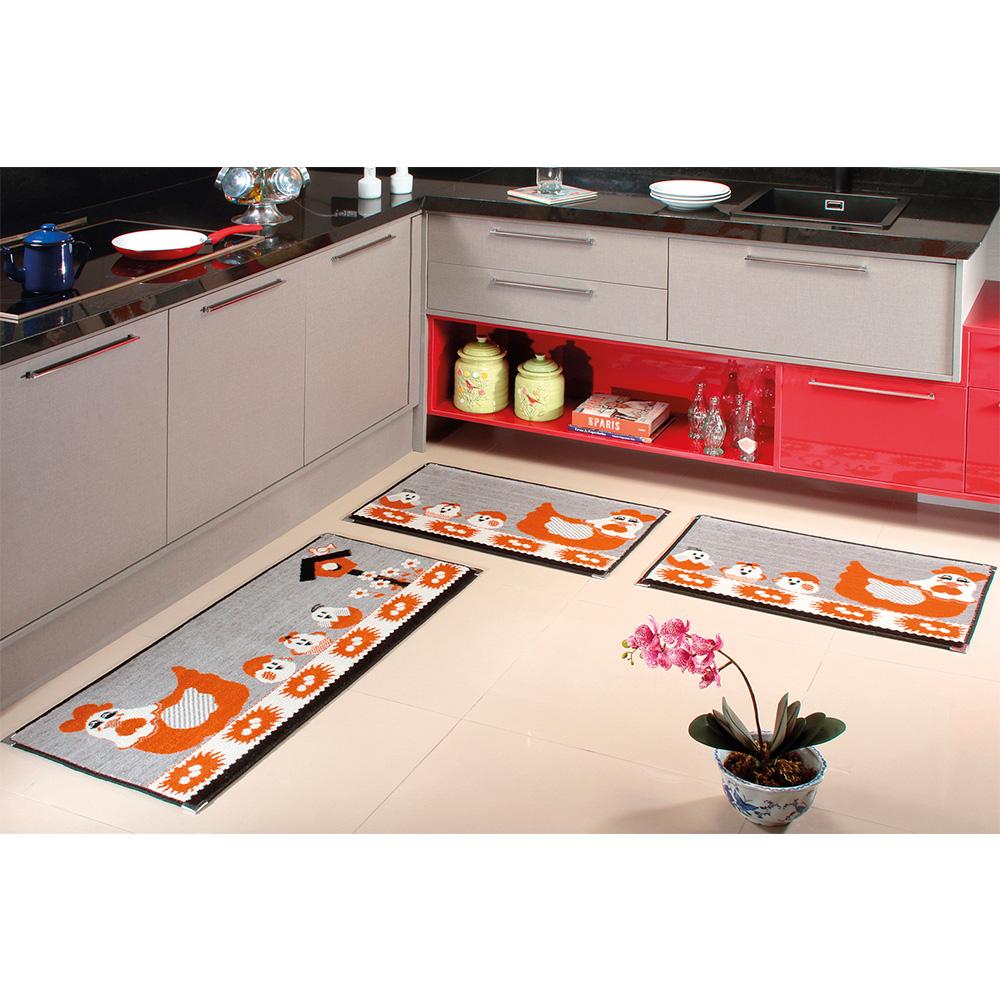 Kit Cozinha Veludo 3 pçs - Perfil Baixo - Espessura 1cm - KA 26 Preto