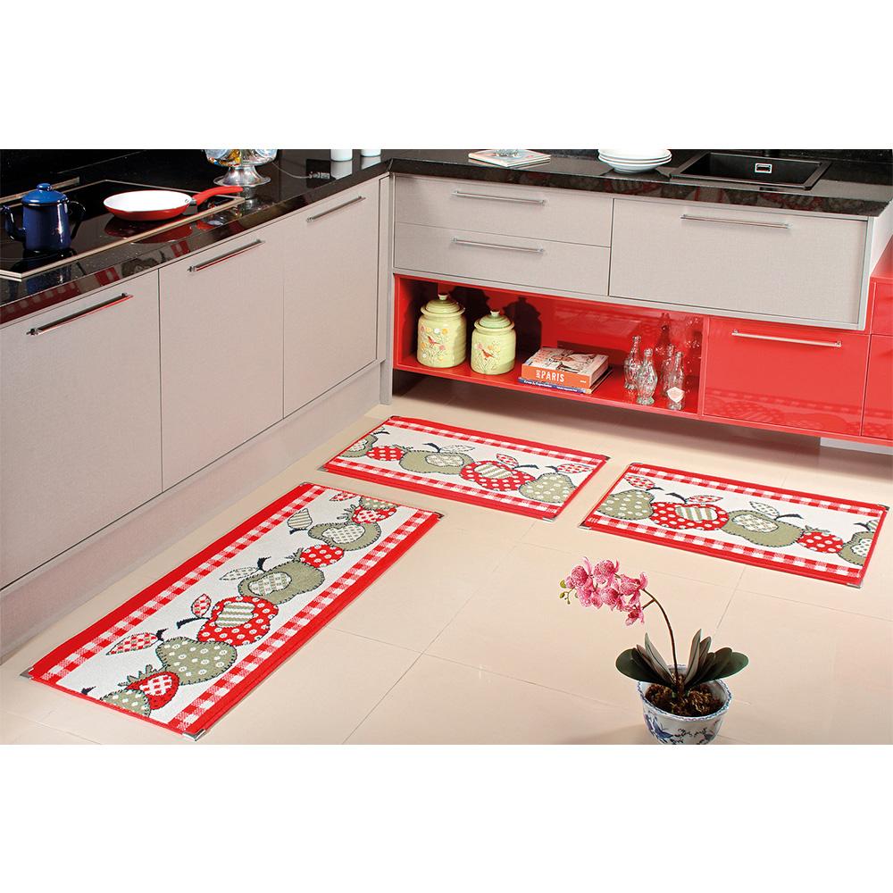 Kit Cozinha Veludo 3 pçs - Perfil Baixo - Espessura 1cm - KA 23 Vermelho