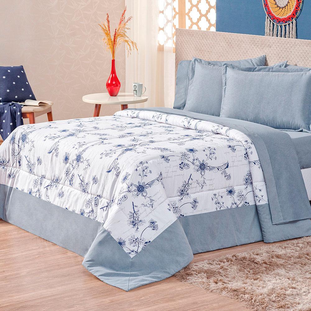 Kit Edredom Allure Queen 3 Peças - Floral Azul