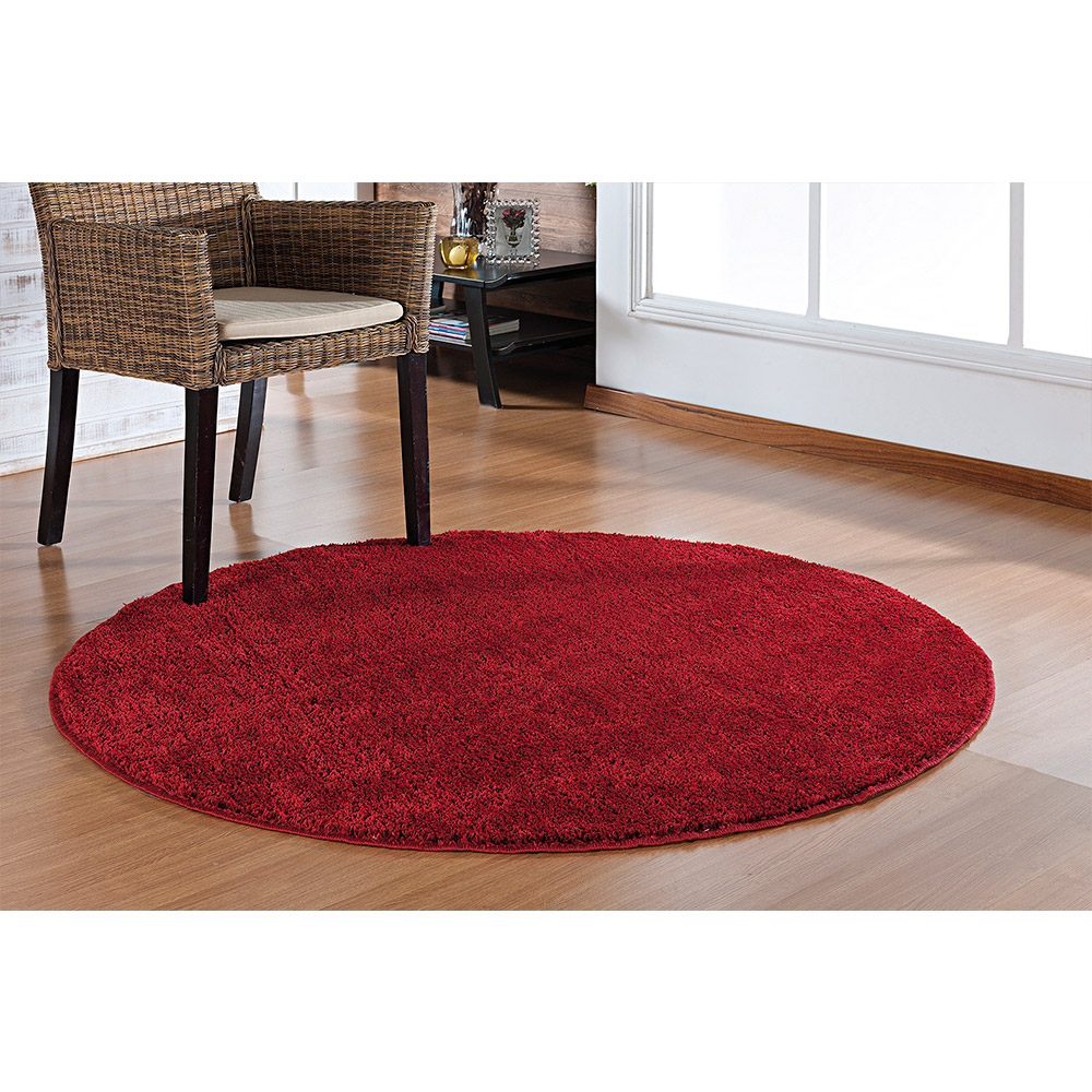 Tapete Classic Redondo 1,50m Diâmetro - Perfil Baixo - Espessura 1,7cm - Vermelho