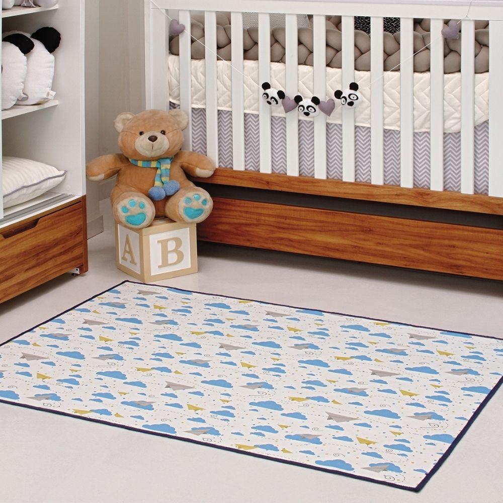 Tapete Kids Brilho no Escuro 1,00m x 1,40m - Perfil Baixo - Espessura 1cm - Azul Royal