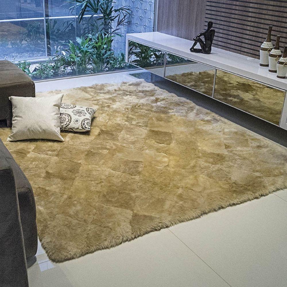 Tapete Lã Carneiro 50cm x 1,00m - Perfil Alto - Espessura 5cm - Areia