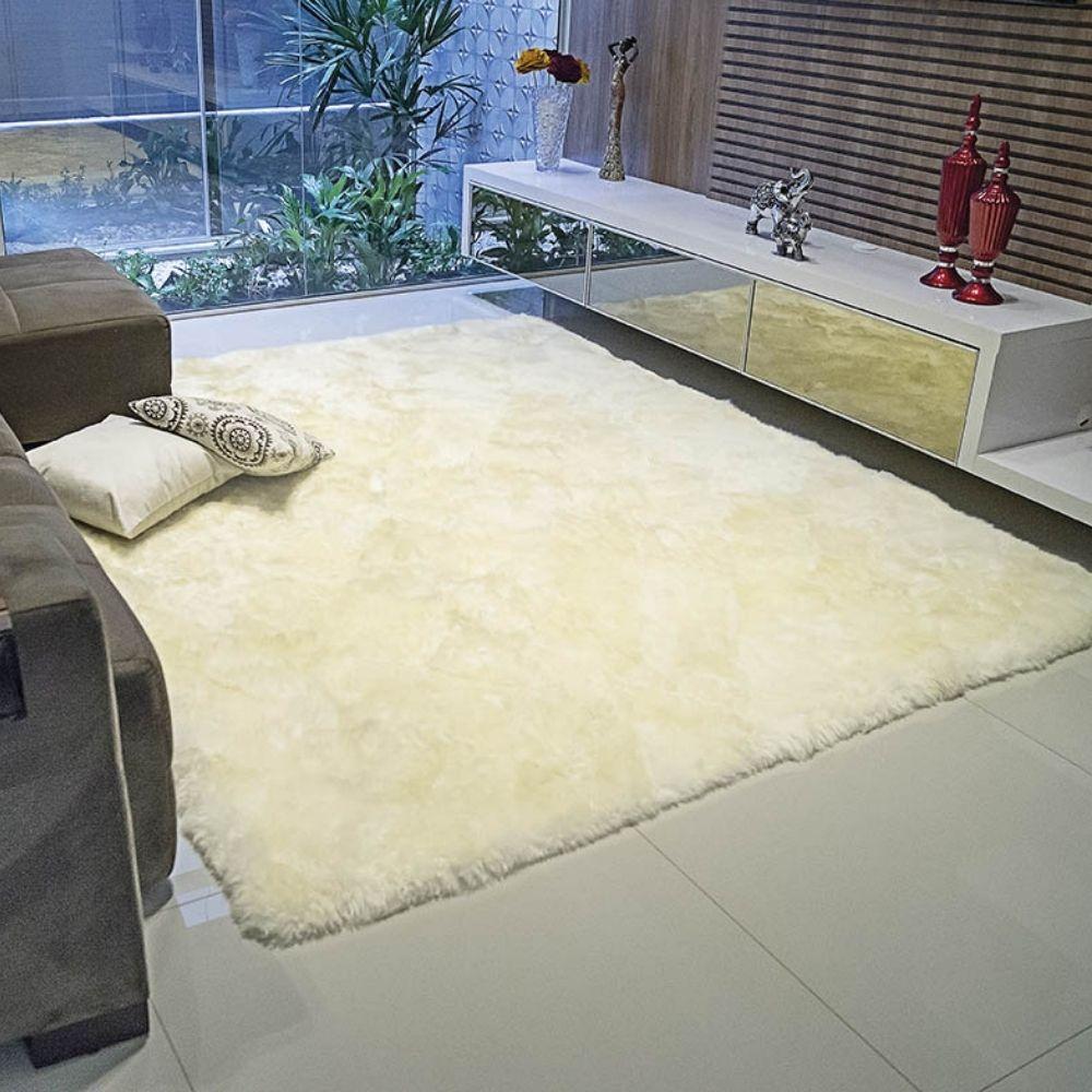 Tapete Lã Carneiro 50cm x 1,00m - Perfil Alto - Espessura 5cm - Palha