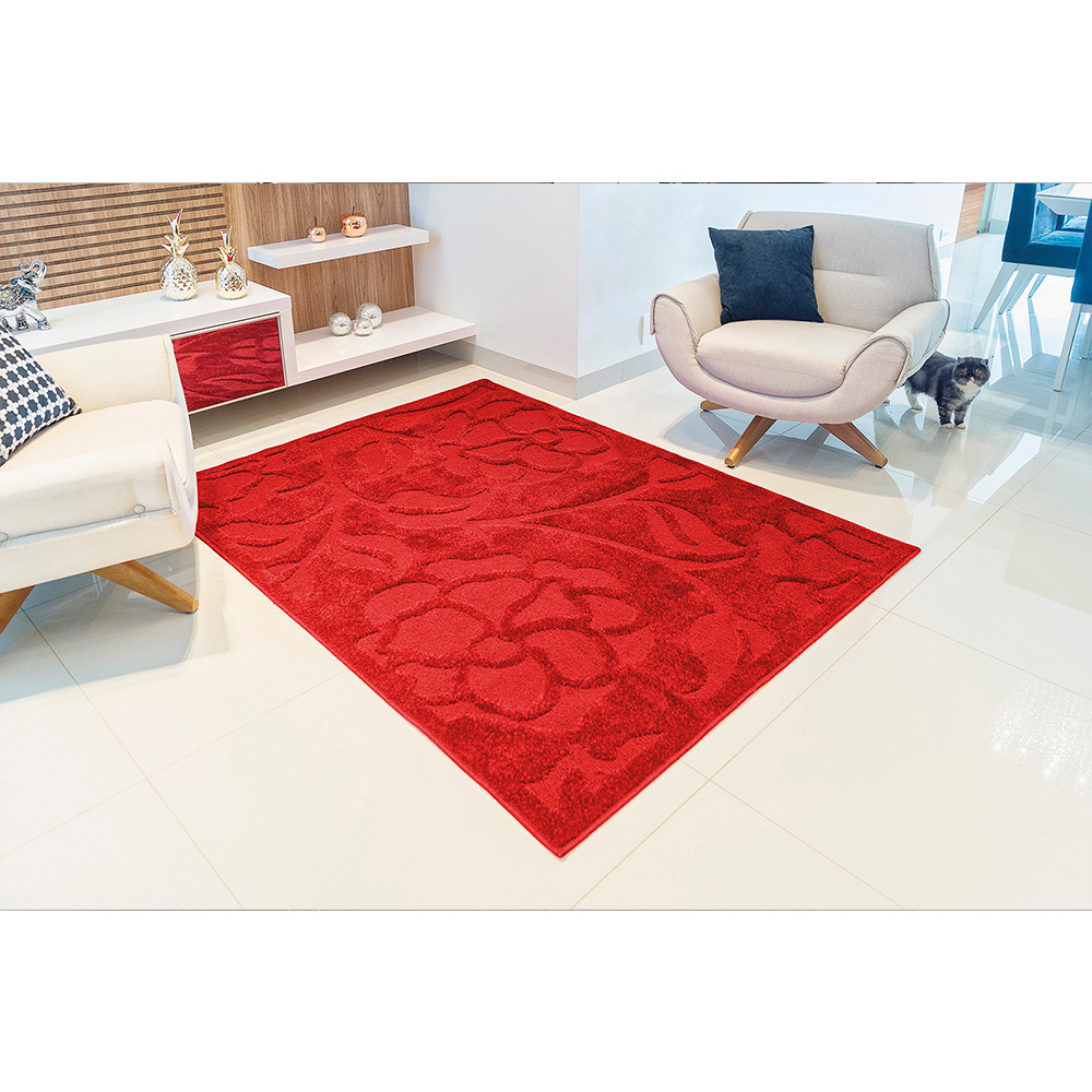 Tapete Realce Charm 1,00m x 1,50m - Perfil Baixo - Espessura 1cm - Roses Vermelho