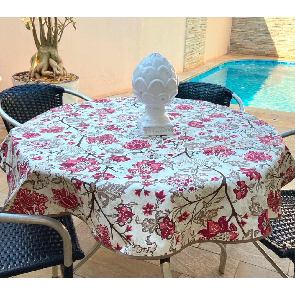 Toalha de Mesa Impermeável Redonda 04 Cadeiras - Vinho Floral