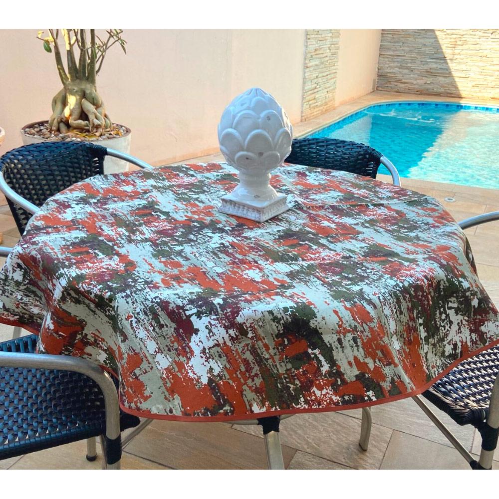 Toalha de Mesa Impermeável Redonda 04 Cadeiras - Mescla Laranja
