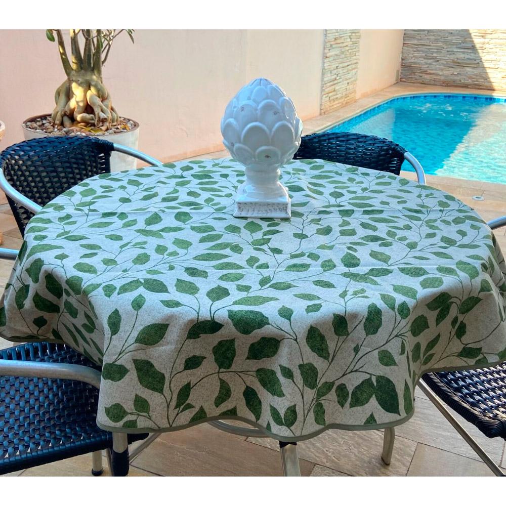 Toalha de Mesa Impermeável Redonda 04 Cadeiras - Verde Folhas