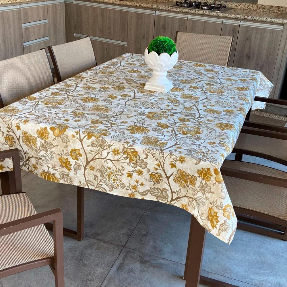 Toalha de Mesa Impermeável Retangular 06 Cadeiras - Caqui Floral