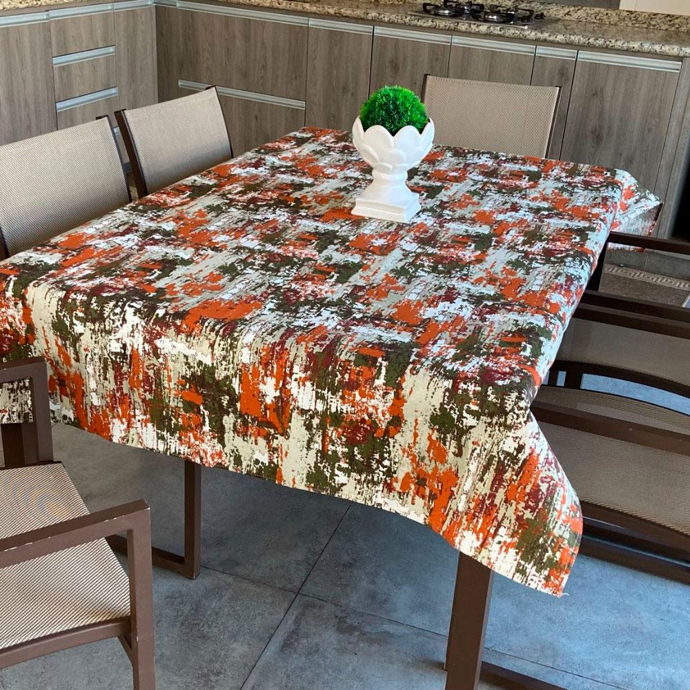 Toalha de Mesa Impermeável Retangular 06 Cadeiras - Mescla Laranja