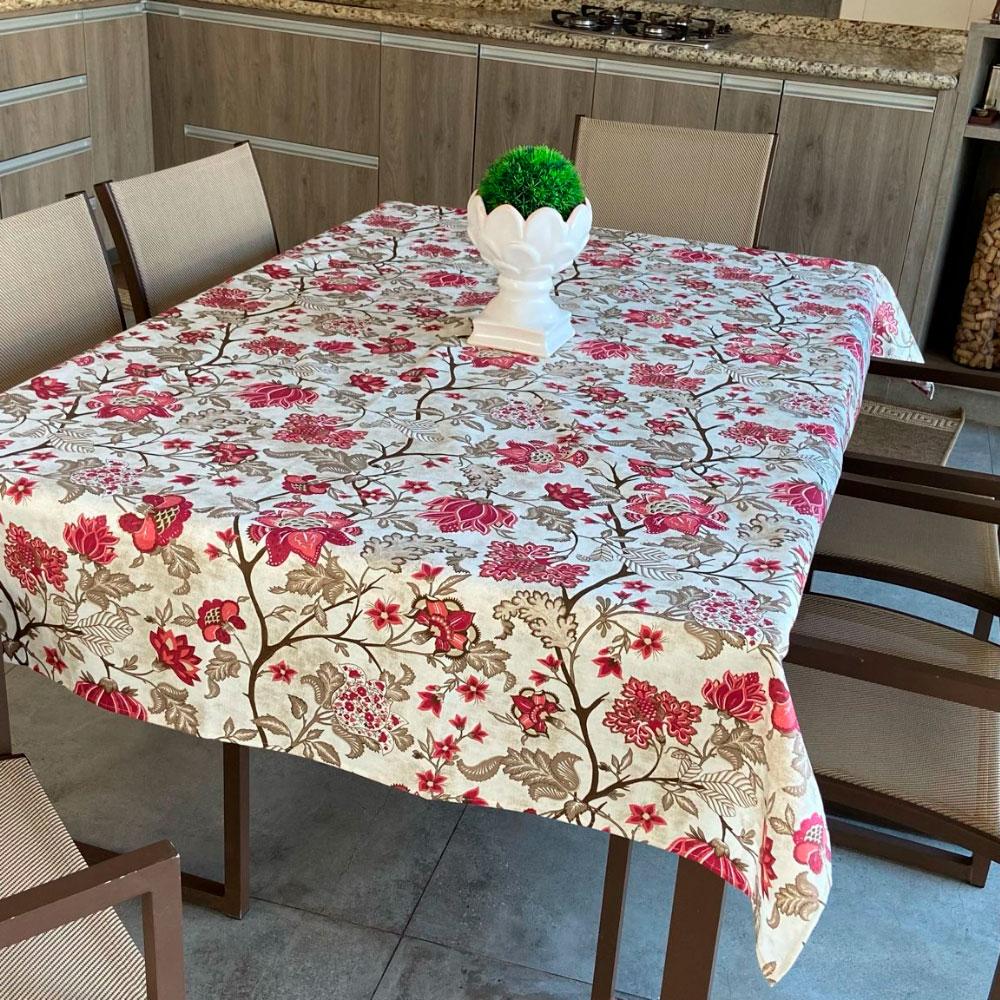 Toalha de Mesa Impermeável Retangular 08 Cadeiras - Vinho Floral