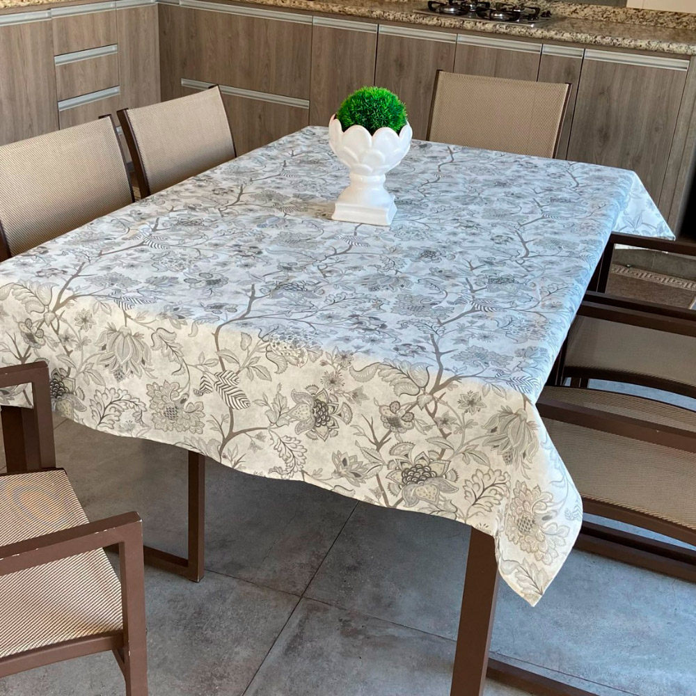 Toalha de Mesa Impermeável Retangular 08 Cadeiras - Cinza Floral