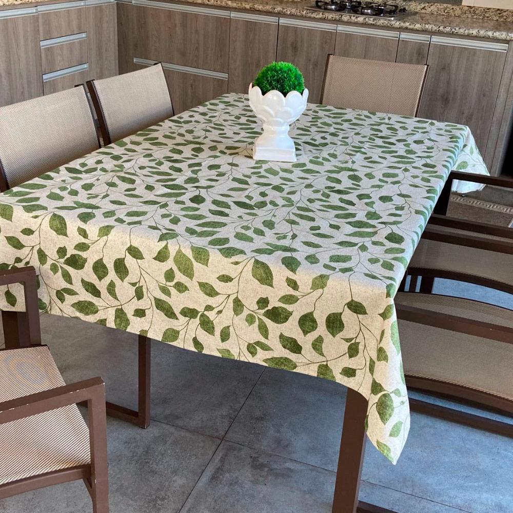 Toalha de Mesa Impermeável Retangular 08 Cadeiras - Verde Folhas