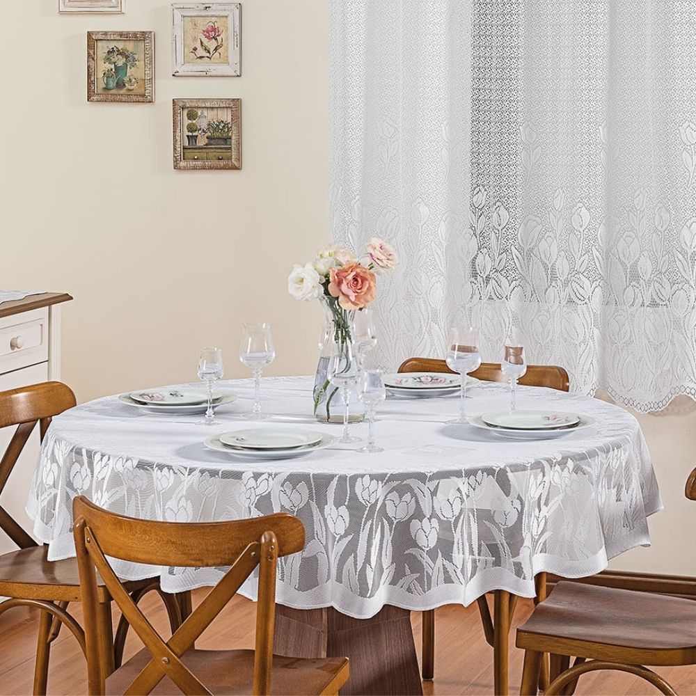 Toalha de Mesa Tulipa Renda Redonda 04 Cadeiras - Branco