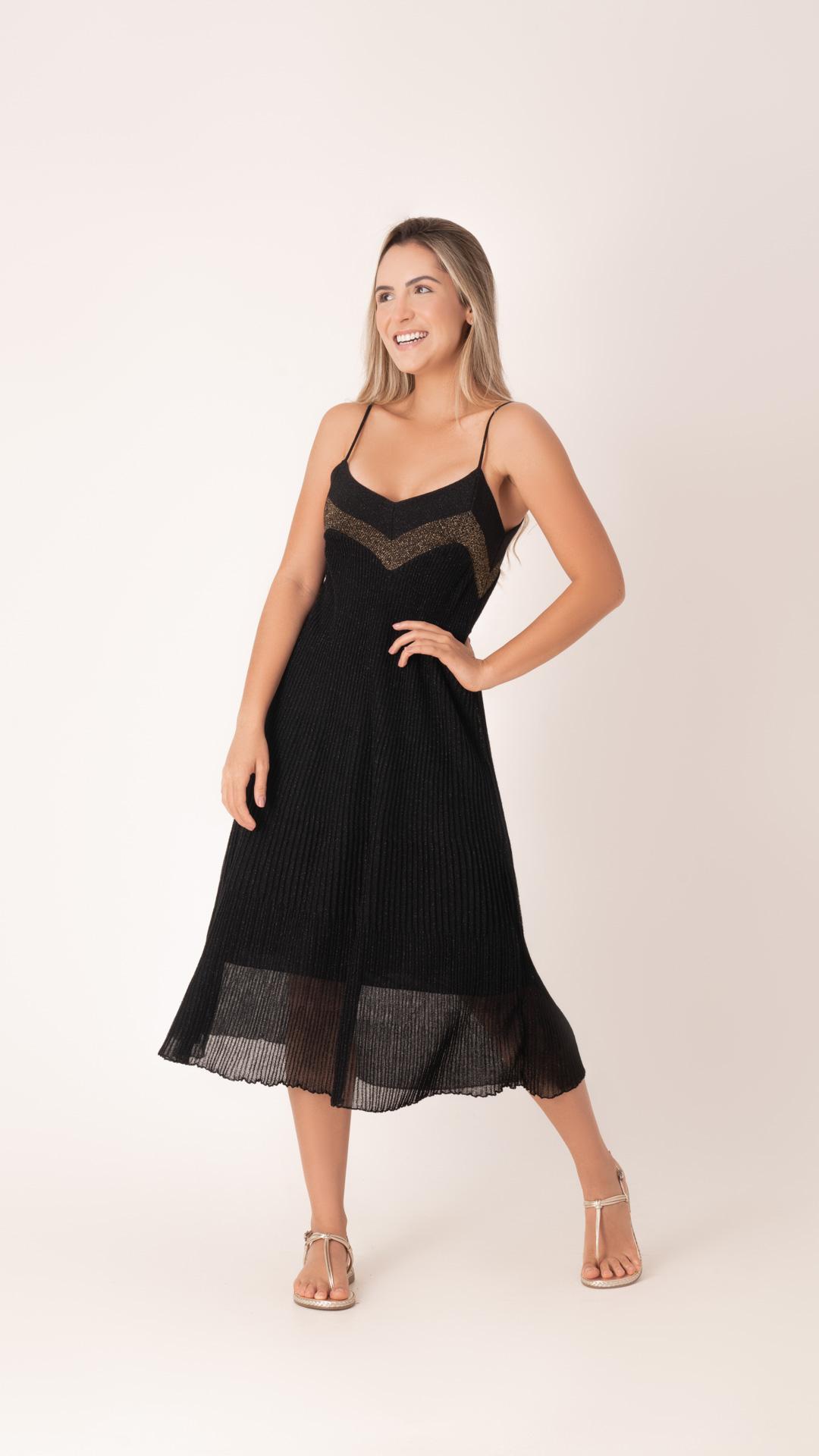 Vestido Decote V Lurex