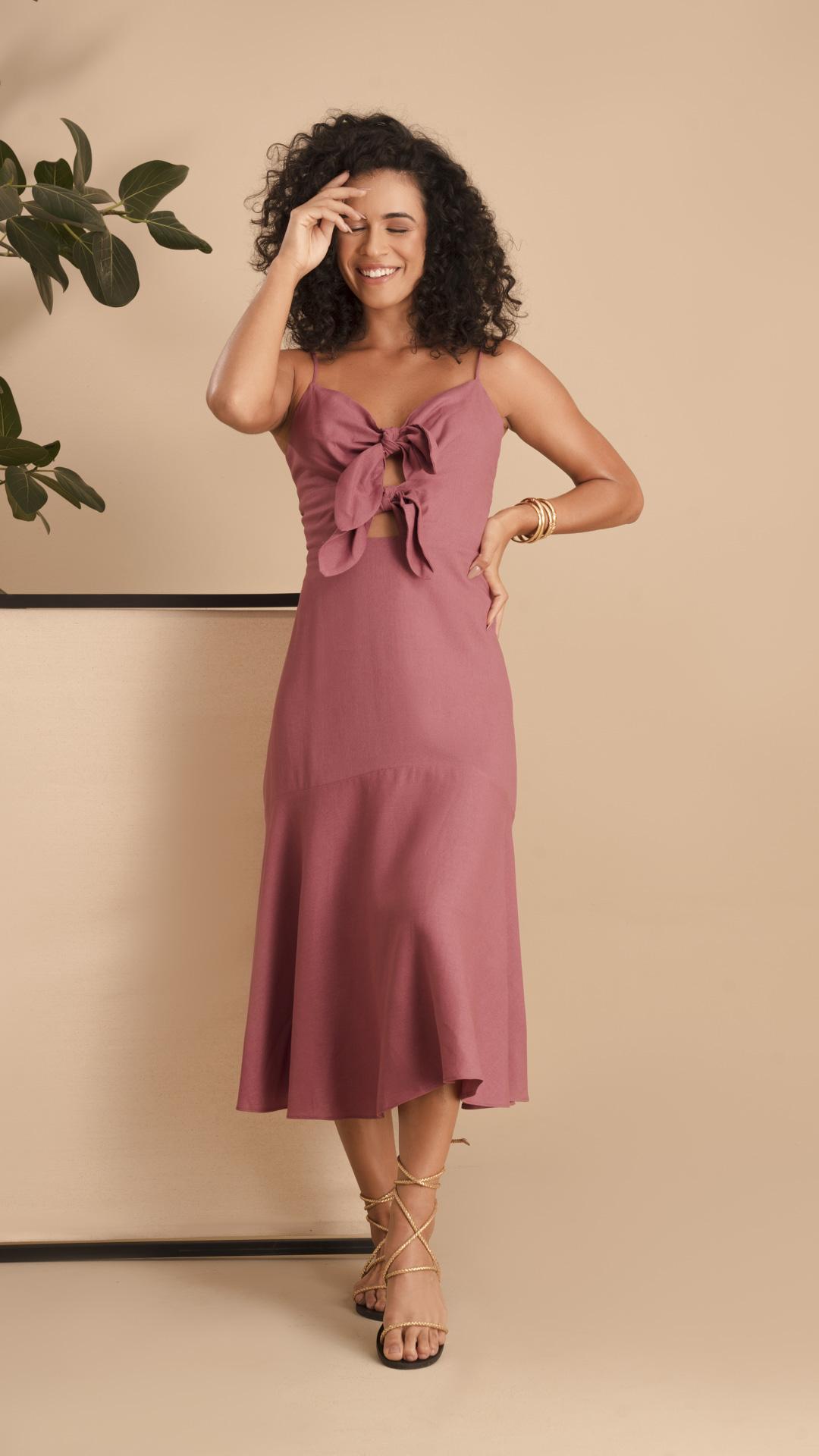 Vestido Linho Laço