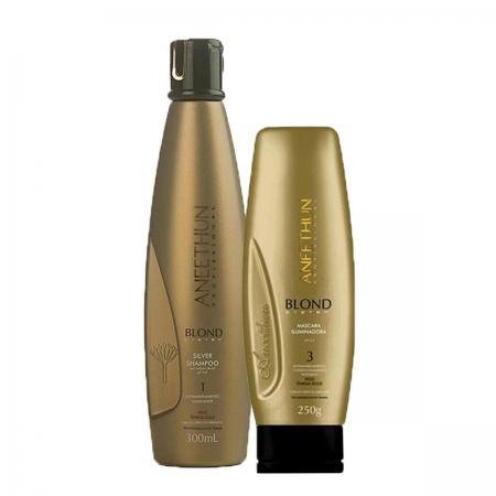 Kit aneethun Blond Iluminador Sh.300ml Másc>250gr (Embalagem Dourada)
