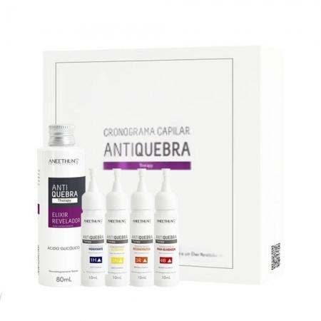 Kit Aneethun Cronograma Antiquebra  4 Ampolas Trat.10ml e 1Elixir80ml