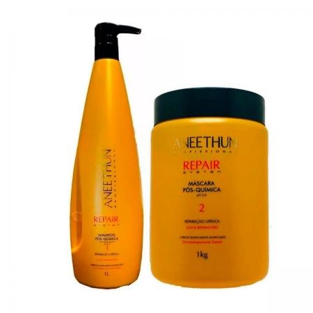 Kit Aneethun Repair System Pós Química Shampoo1L re Máscara1kg
