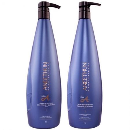 Kit Aneethun Shampoo 1 L  e Creme Silicone Linha A 1 litro  Hidratação