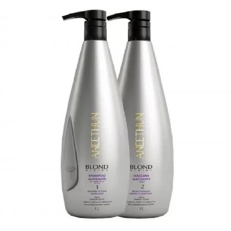 kit Aneethun Shampoo Blond 1l e Mascara Blond 1 l Desamarelador