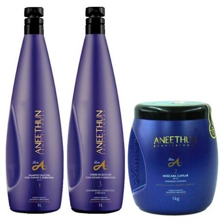 kit Aneethun Shampoo, Creme de Silicone e Máscara Linha A 1 Litro