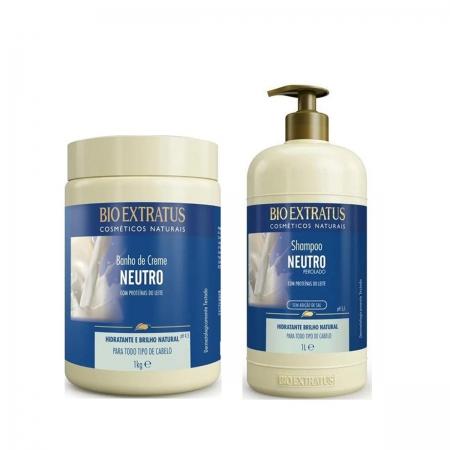 Kit Bio Extratus Neutro Shampoo 1L e Banho De Creme 1kg