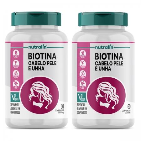 Kit Biotina Cabelo, Pele e Unhas Nutralin 2 potes  cada pote 60 cáps