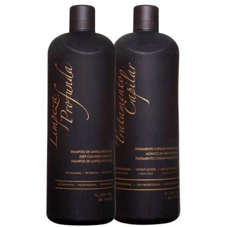Kit Inoar G Hair Escova Progressiva MarroquinaSh.1000ml Alisante1000ml