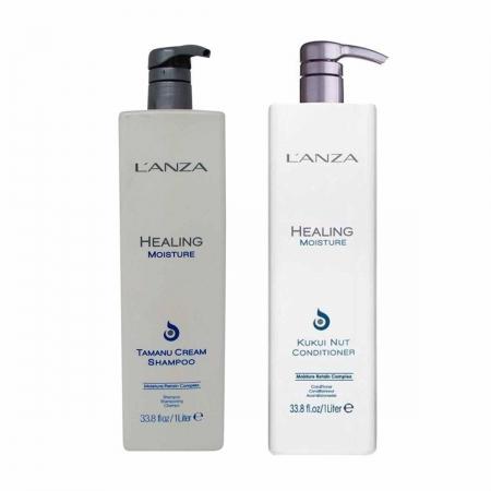 Kit Lanza Healing Moisture Tamanu Cream Sh 1 litro e Cond 1 Litro